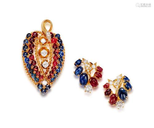 红宝石及蓝宝石配钻石吊坠及耳环套装