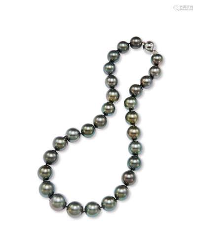 黑色大溪地珍珠项链 约16.5-13.1mm