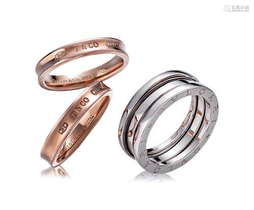 蒂芙尼设计 Tiffany&Co. 玫瑰金戒指一对 及 宝格丽设计 Bvlgari 白金戒指