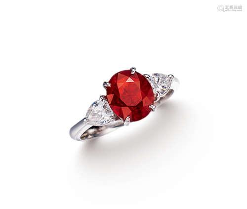 卡地亚设计 Cartier 约2.0克拉缅甸「鸽血红」红宝石配钻石戒指 未经加热