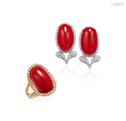 红珊瑚配钻石戒指及耳环套装