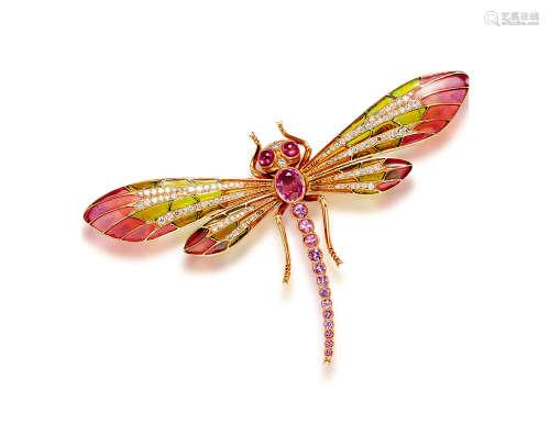 珐琅及粉色蓝宝石配钻石「蜻蜓」胸针
