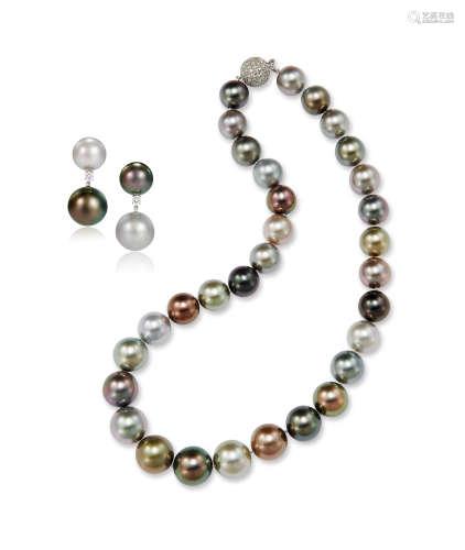 多色珍珠项链及耳环套装 约15.0-12.0mm