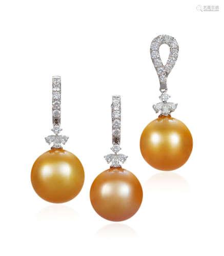 金色南洋珍珠配钻石吊坠及耳环套装 约15.7mm、15.6mm、15.3mm