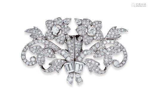 总重约4.0克拉钻石胸针 约1930年制