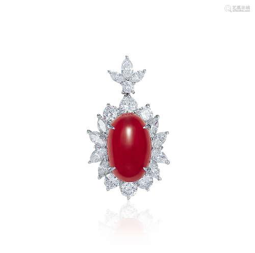 总重约9.4克红宝石配钻石吊坠
