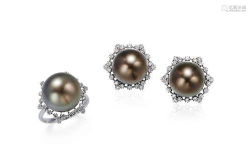 黑色大溪地珍珠配钻石戒指及耳环套装 约14.0mm、12.5mm