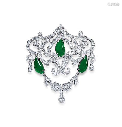 缅甸翡翠配钻石胸针