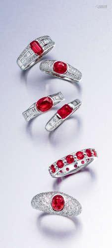 红宝石配钻石戒指 部分为品牌设计 (一组六件)