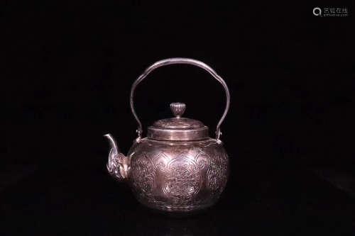 20TH CENTURY, A PURE SILVER TEA POT, THE REPUBLIC OF CHINA