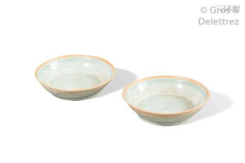 Chine, période Song Yuan Paire d'assiettes en por...