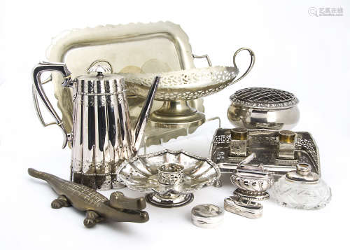 A collection of Victorian and later silver plated items