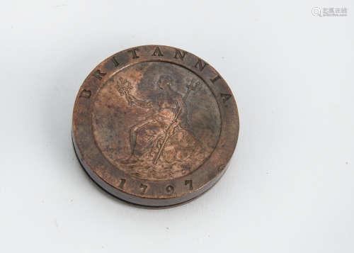 An interesting George III Cartwheel two penny box