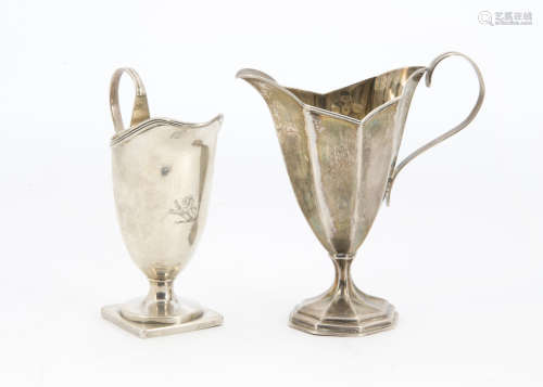 Two Victorian silver cream or milk jugs