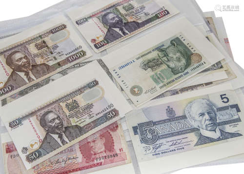 A collection of world bank notes
