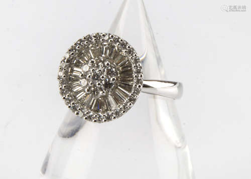 An impressive modern 18ct gold and diamond cluster cocktail dress ring