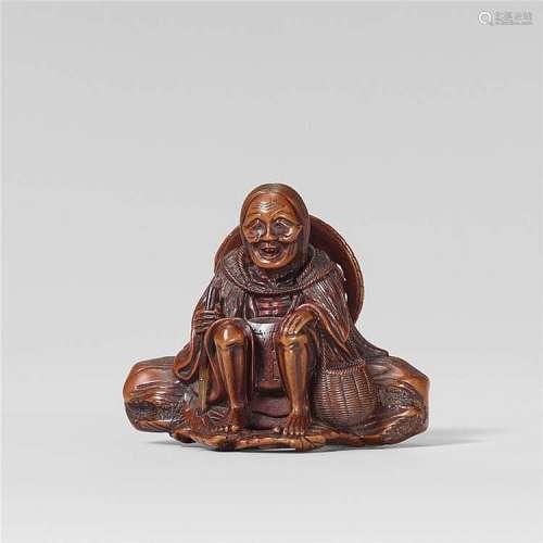 A fine wood netsuke of Ono no Komachi. Mid-19th century