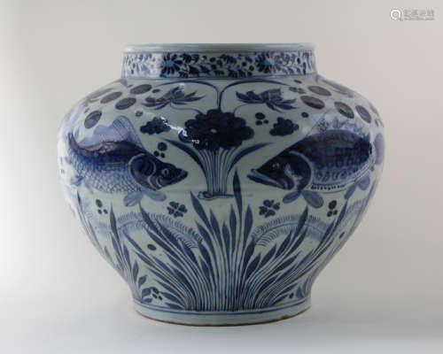 BLUE&WHITE FISH JAR