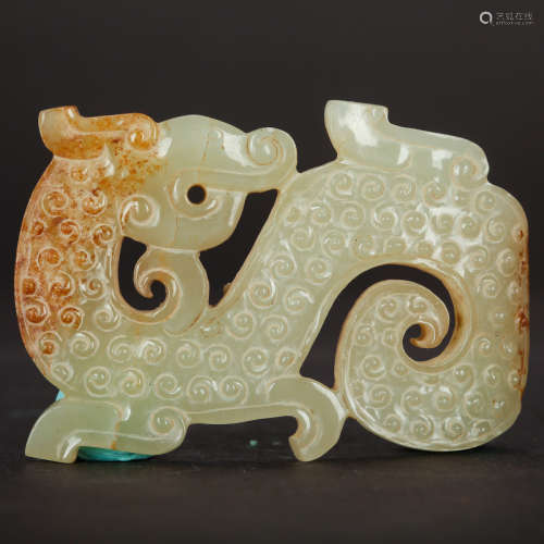 CHINESE ARCHAIC JADE DRAGON PENDANT