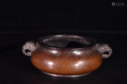 17-19TH CENTURY, A BRONZE STOVE WITH DOUBLE-EAR, QING DYNASTY