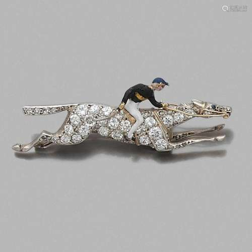 BROCHE CHEVAL de course ET JOCKEY A diamond, enamel, silver and gold brooch.