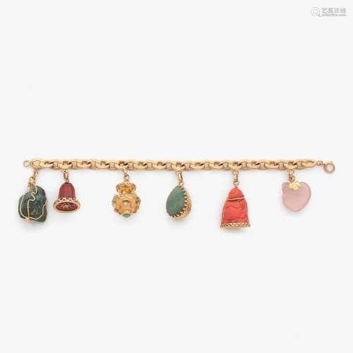 BRACELET BRELOQUES A multigem and gold charms bracelet.