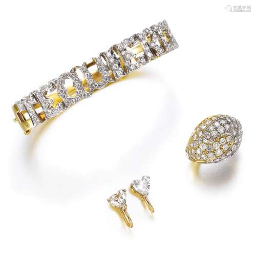 Gold and diamond bangle, a diamond ring, and a pair of diamond studs