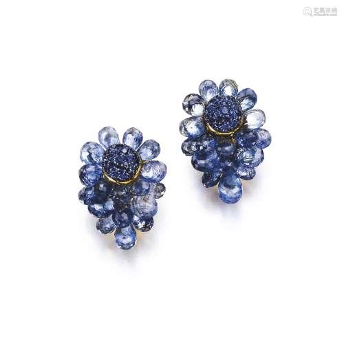 Pair of sapphire ear clips