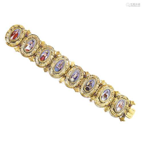 Gold, ruby and enamel miniature bracelet, circa 1840