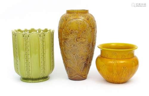 A Burmantofts Faience Partie-Colour vase