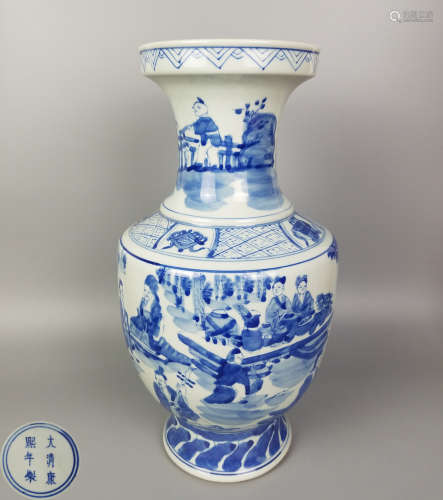A BLUE AND WHITE FIGURE STORIES VASE