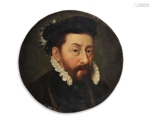 Portrait of a gentleman, traditionally identified as the Duke of Montmorency (1493-1567), bust-length, in fur-trimmed,  black costume 18.2cm (7 3/16in). diameter Circle of Willem Key(Breda circa 1515-1568 Antwerp)