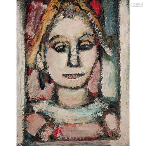 GEORGES ROUAULT (1871-1958) Arlequin, harmonie rose, 1948-1952 Oil on canvas 16 X 12 1/2 in.
