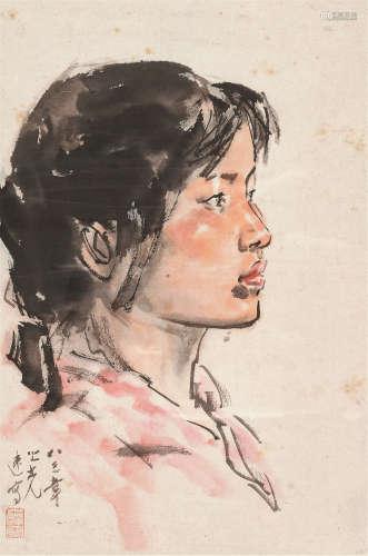杨之光 1983年作 人物 镜框 设色纸本