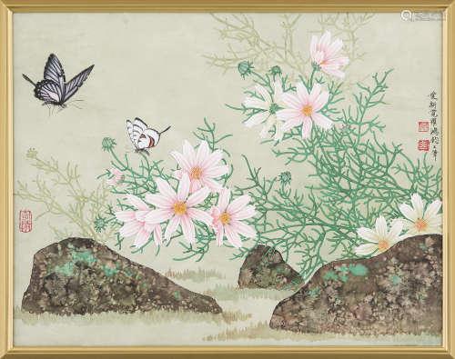 爱新觉罗·鸿钧(b.1937) 花蝶 镜框 设色纸本