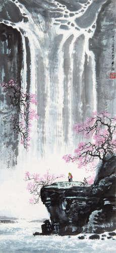 李颖(1934~2004) 1977年作 踏春 立轴 设色纸本