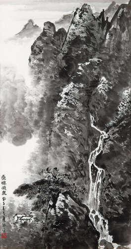 应野平(1910~1990) 1984年作 叠嶂飞泉 镜框 水墨纸本