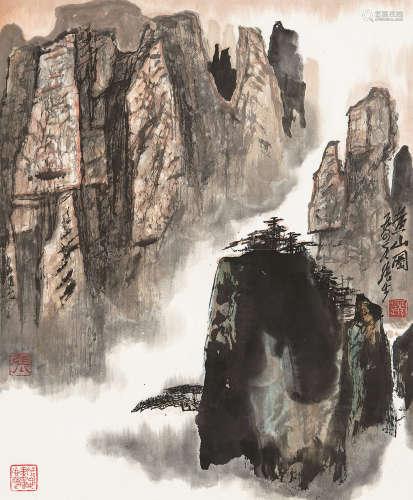 张步(b.1934) 1984年作 黄山图 立轴 设色纸本