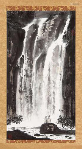 亚明(1924~2002) 1976年作 观瀑图 立轴 设色纸本