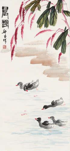 娄师白(191~2010) 晨趣 立轴 设色纸本