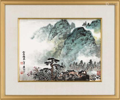应野平(1910~1990) 1985年作 山居春早 镜框 设色纸本