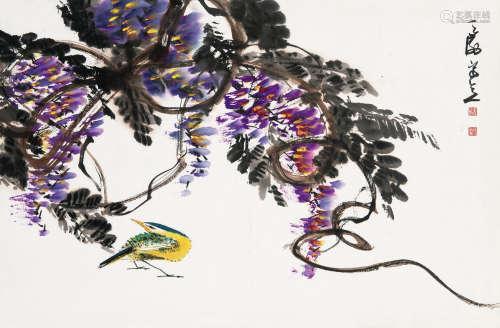 韩天衡(b.1940) 藤花翠鸟 镜框 设色纸本