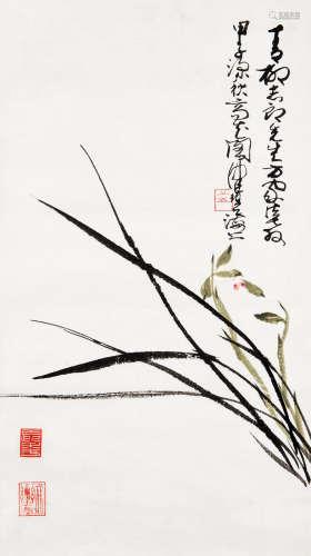 陈佩秋(b.1922) 1984年作 惠兰图 立轴 设色纸本