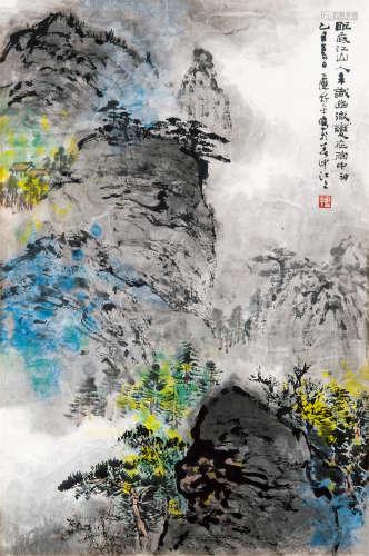 应野平(1910~1990) 1985年作 山水 镜框 设色纸本