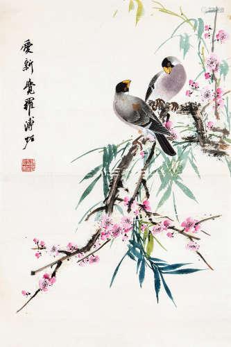 溥佐(1918~2001) 花鸟 立轴 设色纸本