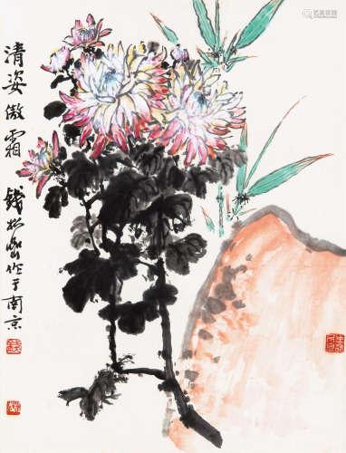 钱松嵒(1899~1985) 清姿傲霜 镜框 设色纸本
