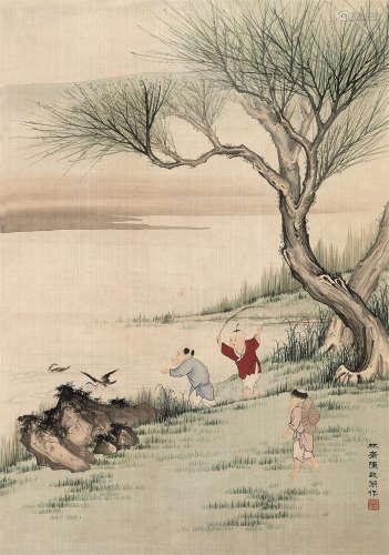 陈启湖(1912~1999) 婴戏图 立轴 设色绢本