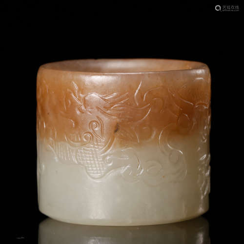 CHINESE JADE CARVED THUMB RING