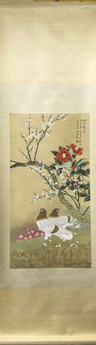 A YU JI GAO  FINE BRUSHWORK FLOWERS AND BIRDS