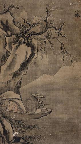 吴伟(1459~1508) 寒江雪钓图 立轴 绢本设色